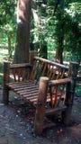 A bamboo bench in Batumi botanical gardens stock photos
