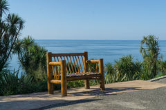 Bamboo bench with a sea view from the Botanical Gardens in Batumi, Georgia. Royalty Free Stock Image