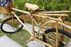 Bamboo bicycle with bouquet Stock Image