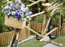 Bamboo bicycle with bouquet Stock Photos