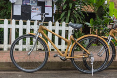 Bamboo bikes, bicycle parts are made of bamboo Royalty Free Stock Photography