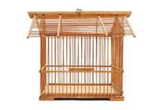 Bamboo birdcage. An empty bamboo birdcage on a white background Royalty Free Stock Images
