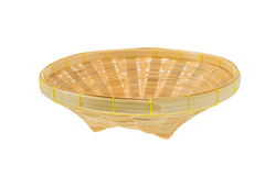 Bamboo blank basket isolated on a white background Royalty Free Stock Photography