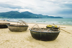 Bamboo boat on the China Beach in Danang Vietnam Stock Photos