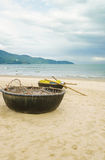 Bamboo boat on China Beach in Danang in Vietnam Stock Images