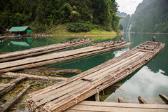 Bamboo boat on the lake. Bamboo boats are berthed on the shore of a mountain lake in the jungle royalty free stock photos