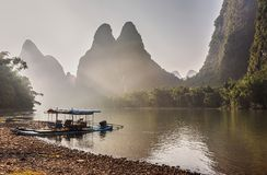 Bamboo boat on Li river in China. Royalty Free Stock Photo