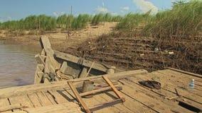 Bamboo, boat, mekong, cambodia, southeast asia stock video