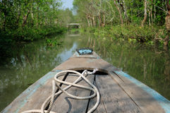 Bamboo boat in the Mekong River Delta Vietnam Royalty Free Stock Images