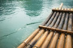 Bamboo boat. On the river Royalty Free Stock Image