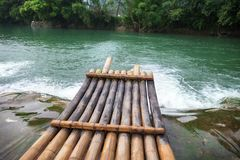 Bamboo boat. On the river Stock Photos