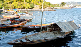 The bamboo boat. Is a very interesting choice for sailing the North Sea, norway Stock Photo