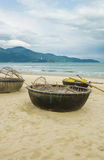 Bamboo boats on the China Beach in Danang in Vietnam Stock Image
