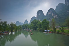 Bamboo boats on the Li river, China Royalty Free Stock Photo