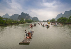 Bamboo boats on the Li river, China Royalty Free Stock Photography