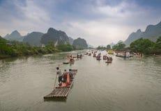Bamboo boats on the Li river, China Royalty Free Stock Photography