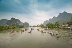 Bamboo boats on the Li river, China Royalty Free Stock Photos