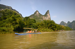 Bamboo boats in Yangshuo Royalty Free Stock Images