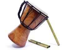 Bamboo and Bongo Drum Royalty Free Stock Photos