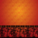 Bamboo border on Chinese wallpaper Royalty Free Stock Image