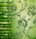 Bamboo border and decorative floral background stock images