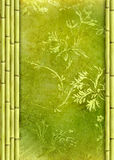 Bamboo border and floral background Royalty Free Stock Image
