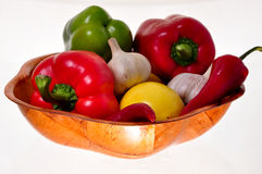 Bamboo bowl full of vegetables Stock Photo