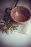 Bamboo bowl on mat Royalty Free Stock Images