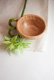 Bamboo bowl on mat Royalty Free Stock Photos