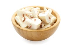 Bamboo bowl with mushrooms Stock Photos