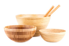 Bamboo bowls Stock Images