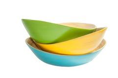 Bamboo bowls isolated Stock Image