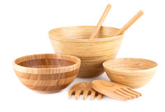 Bamboo bowls and wooden items Royalty Free Stock Photos