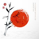 Bamboo branch, red sun  and dragonflies Stock Photo