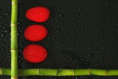 Bamboo branch at right angles on the bottom left side with red pebbles wet with drops of water on black background. Bamboo  at right angles on the bottom left Royalty Free Stock Image
