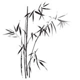 Bamboo branches painting. Traditional asian black and white painting Royalty Free Stock Photos