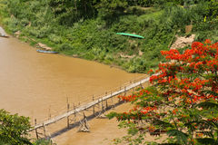 Bamboo bridge across Khan river in Luang Prabang Royalty Free Stock Photos