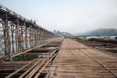 Bamboo bridge across the river in Sangkhlaburi kanchanaburi Prov Stock Images
