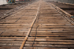 Bamboo bridge across the river in Sangkhlaburi kanchanaburi Prov Royalty Free Stock Photos