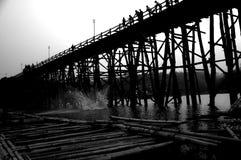Bamboo bridge across the river in Sangkhlaburi kanchanaburi Stock Images