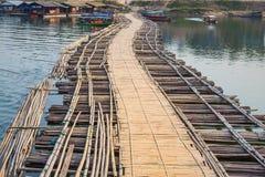 Bamboo bridge across the river Stock Photo