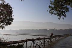 The bamboo bridge across the river of Yingjiang. Yunnan province, China Stock Photo
