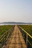 Bamboo bridge at chiang sane lake Royalty Free Stock Photos