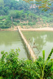Bamboo bridge cross Me Kong river at luangprabang Loas Stock Photo