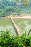 Bamboo bridge cross Me Kong river at luangprabang Loas Stock Photo