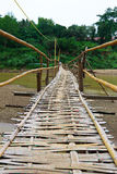 Bamboo bridge cross over the river to another village Stock Photography