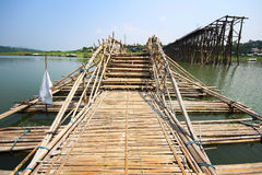 Bamboo bridge cross the river beside break wood bridge, Kanchana Stock Photos
