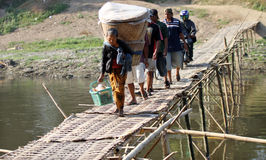 Bamboo bridge crossing Royalty Free Stock Images