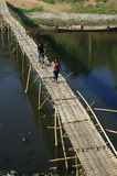 Bamboo bridge crossing Royalty Free Stock Photography