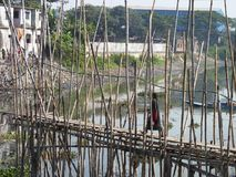 Bamboo bridge of dhaka bangladesh. Stock Photo